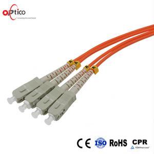 China Multimode Fiber Optic Patch Cord 3m SC UPC to SC UPC Duplex 2.0mm PVC OFNR OM2 on sale