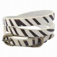 Genuine Leather Thin Zebra Belt with Fashionable Design