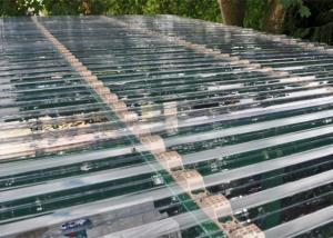 China Transparent Corrugated Polycarbonate Sheets For Roof Covering 0.8 - 1mm Thickness supplier
