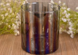 China Decorative Straight Walled Glass Candle Holder with Electroplating Color Effect on sale