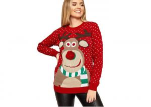 China Round Collar Knitting Women Ugly Christmas Sweater Pullover Cute Deer Pattern on sale