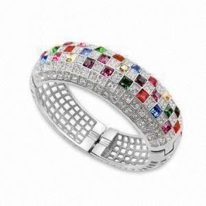 China Rhinestone Bracelets/Bangles, Made of Swarovski Crystals/92.5 Silver, with Gold/Rhodium Plating on sale