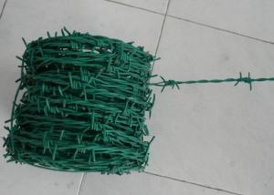 China Green Security Barbed Wire Roll Coil Protection For Grass Boundary on sale