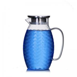 China High Borosilicate Glass Pitcher , Drip Free Large Capacity Glass Water Carafe on sale
