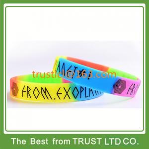 China Customized 1/2 inches printed silicone bracelet, segmented silicone wristband on sale