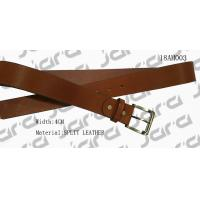 Black Painting Edges Tan Leather Belt , Mens Brown Leather Belt With Gold Buckle