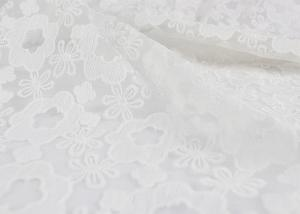 China 3D Polyester White Embroidered Lace Fabric , Wedding Dress / Wedding Gown Lace Fabric on sale