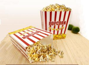 China Rectangular Takeaway Food Packaging White Carboard Paper Popcorn Boxes on sale