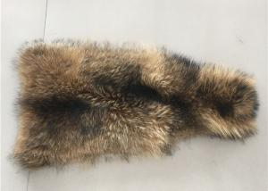 China Natural Color Raccoon Fur Collar Raw Skin A Grade 70 - 105cm For Garment / Home Textile on sale