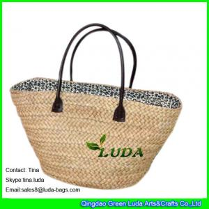 China LUDA natural straw bags cornhusk straw monogrammed beach bags on sale
