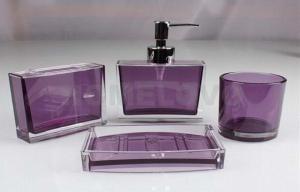 China 現代紫色の歯ブラシのホールダー5部分のプラスチック浴室の一定の石鹸ディスペンサー on sale