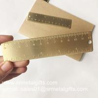 Satin brush brass bookmark ruler, OEM brushed brass mini ruler bookmarks