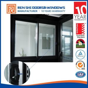 China AS2047 Double Glazing Aluminum Sliding Window With INTERPON Black Color on sale