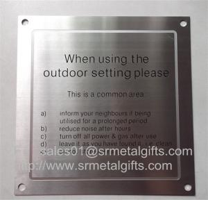 China Satin brushed stainless steel warning sign plate with screw holes, on sale