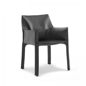 China Leather New Design Armchair,Hot Sale Metal Leg Design Modern Armrest Hotel Leather Upholstered Dining Room chair. supplier