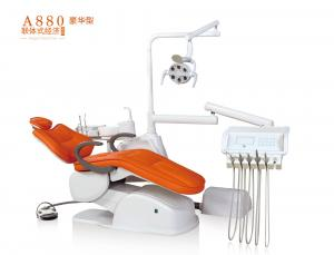 China A880 Luxury customized orange color dental chair equipment with LED sensor light on sale