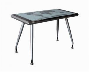 China Eco  Friendly Compact Computer Desk World Map Design Silver Color Legs on sale