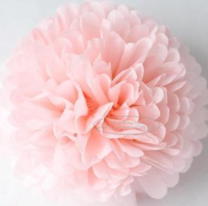 China Light Pink Party Decoration Paper Flower Tissue Paper Pom Poms Balls Craft on sale