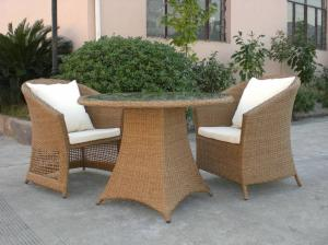 China Outdoor Rattan Furniture Sofa Chair Set For Garden / Patio Brown on sale
