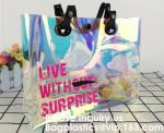 Promotional Shiny PVC Tote Bag, Women Gender and Casual Tote Shape large capacity clear PVC Beach Bag, Bagease, Bagplast