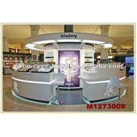 China glass retail kiosk shop dispaly cosmetics or eye bow in shopping mall on sale