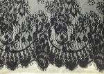Black Width 60 Nylon Embroidered Eyelash Lace Trim with Knitted / Jacquard