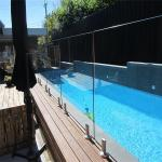 Swimming Pool Flooring mount Tempered glass balustrades with steel spigots