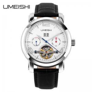 China Fashion Automatic Mechanical Watch With Metal Strap Cow Genuine Leather Band on sale