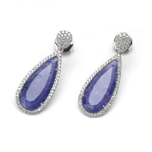 China Beautiful Elegant Purple Micro Pave Diamond Stud Earrings for Ladies on sale