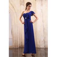 Vintage One Shoulder A Line Royal Blue Ruffle Chiffon Evening Dresses