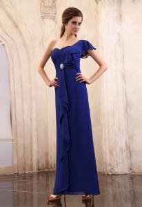 China Vintage One Shoulder A Line Royal Blue Ruffle Chiffon Evening Dresses on sale