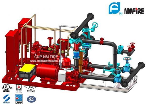 Red 250GPM Skid Mounted Fire Pump Package With Electric