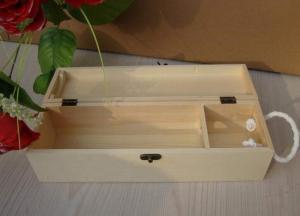China Personalised Wooden Wine Gift Box , Nature Pine Wood Wine Box 130 X 120 X 360 mm on sale