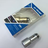 China Gold Silver Dual USB Car Charger , Aluminum usb adapter for car cigarette lighter on sale