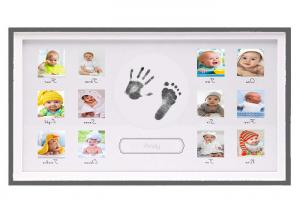 China Horizontial Baby First 12 Months Photo Frame Ink Handprint Photo Frame For Boys on sale