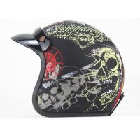 China DOT Retro motorcycle helmet male and female personality skull printing helmet half-covered helmet  with sun shield on sale