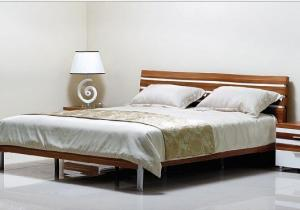 China Simple Style Bedroom Suite Furniture King Size Bed With Melamine Metal Feets on sale