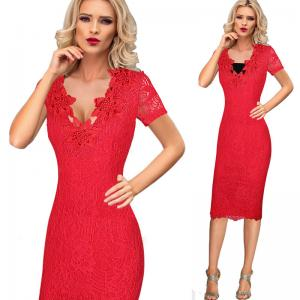 China Bud Silk women's casual dress clothes , red knee length dress Short Sleeves on sale