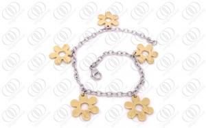 China Fashionable Plum Blossom Steel Charm Bracelets In Gold and Silver Tones on sale