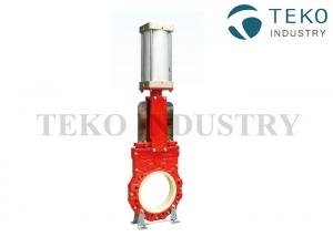 China PU Lining Abrasion-resistant Slurry Knife Gate Valve With Pneumatic Actuator on sale
