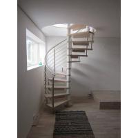 Spiral Staircase Stainless Steel Balustrade Woonden Treads Stairs