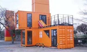 China Prefab Shipping Cargo Container House , Modular Container Homes Rockwool Sandwich Panal on sale