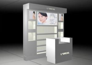 China RAL Color Cosmetic Display Stand / Beauty Product Display Units Flooring Style on sale