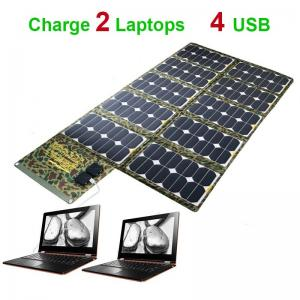 China 130W Solar Laptop Charger Foldable Solar Panel Charger Portable Folding Solar Power Bank for 2 Laptops Phone iPhone iPad on sale