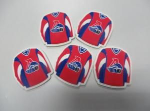 China Personalized Football Red Blue T-Shirt Shape Soft PVC Fridge Magnet With Embossed Logo For Souvenirs on sale