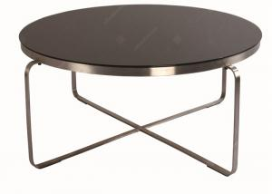 China Wooden Round Size Hotel Coffee Table Stainless Steel Frame Environment - Friendly on sale