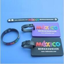 China Custom Advertising Logo Visit Mexico Travel Souvenir Wristband and Luggage Tag In Soft PVC Material on sale