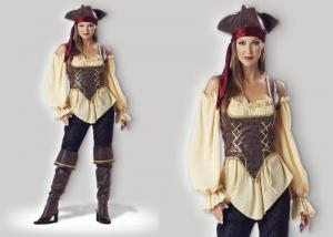 China Rustic Pirate Lady 1024  Halloween Adult Costumes Brown Yellow Red Mixed Color on sale