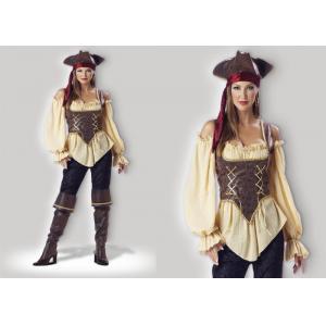 Деревенский взрослый 1024 дамы хеллоуина пирата костюмирует цвет Брауна желтый красный смешанный