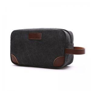 China Thick Canvas / Leather Leisure Folding Makeup Bag 6 Colors For Tiny Items Storage on sale
